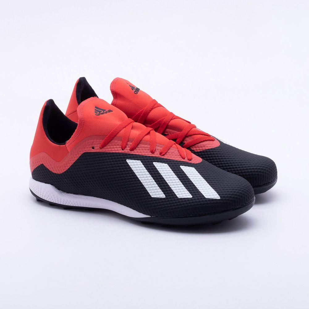 5eb22851418aa Chuteira Society Adidas x 18.3 TF Preto e Vermelho - Gaston ...
