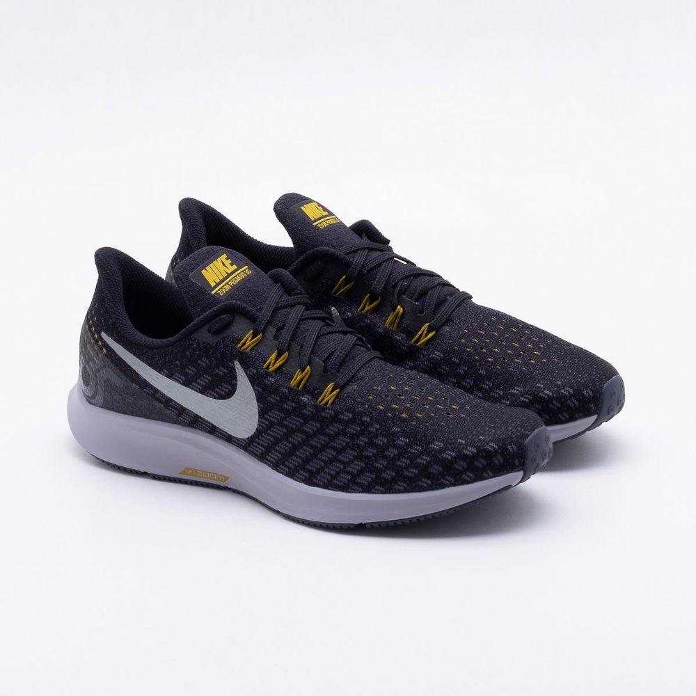Tênis Nike Air Zoom Pegasus 35 Masculino Preto e Prata - Gaston ... 2a1333e5458df