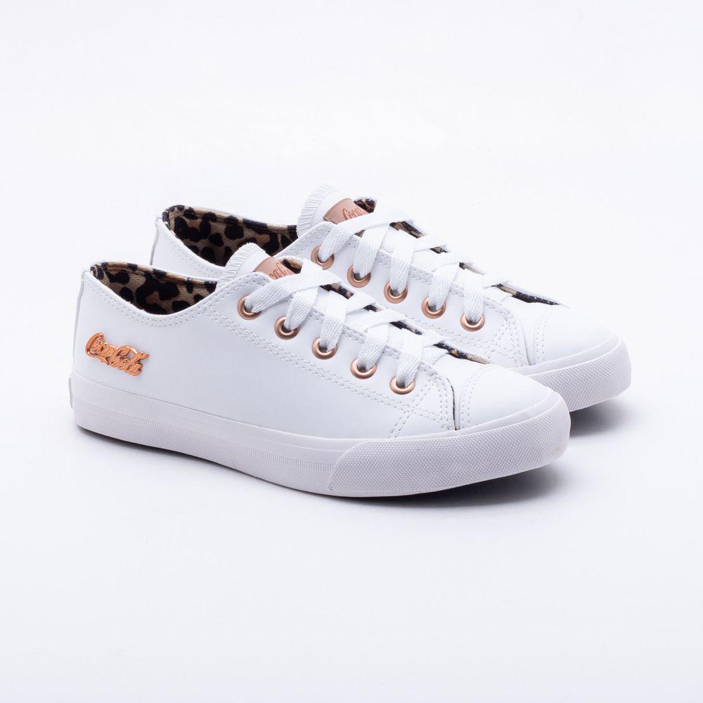 Tênis Coca-Cola Shoes Basket Floater Skin Branco Feminino Branco ... f1f2615e5d4f5