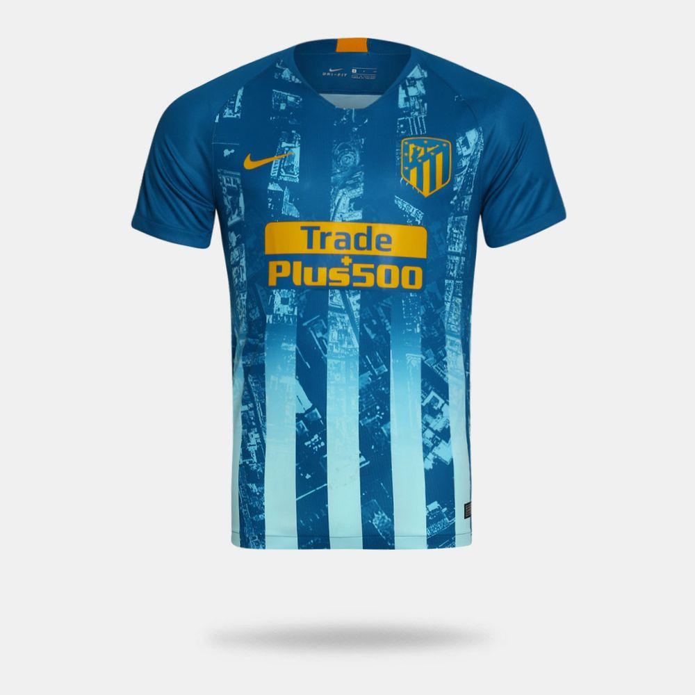 Camisa Nike Atlético de Madrid 2018 2019 III Torcedor Azul Masculina ... 2248bedbada83