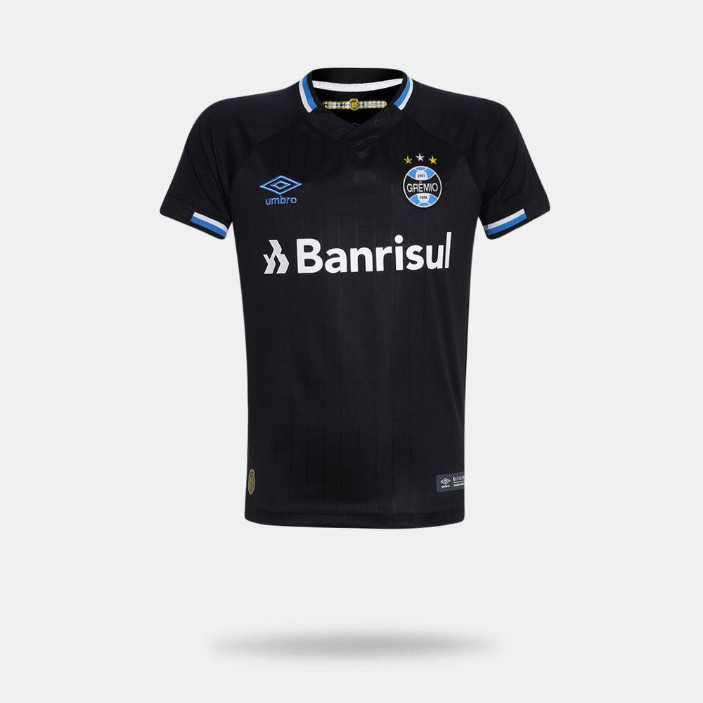 30ded90c5c723 Camisa Umbro Grêmio 2018 2019 III Torcedor Preta Infantil Preto ...