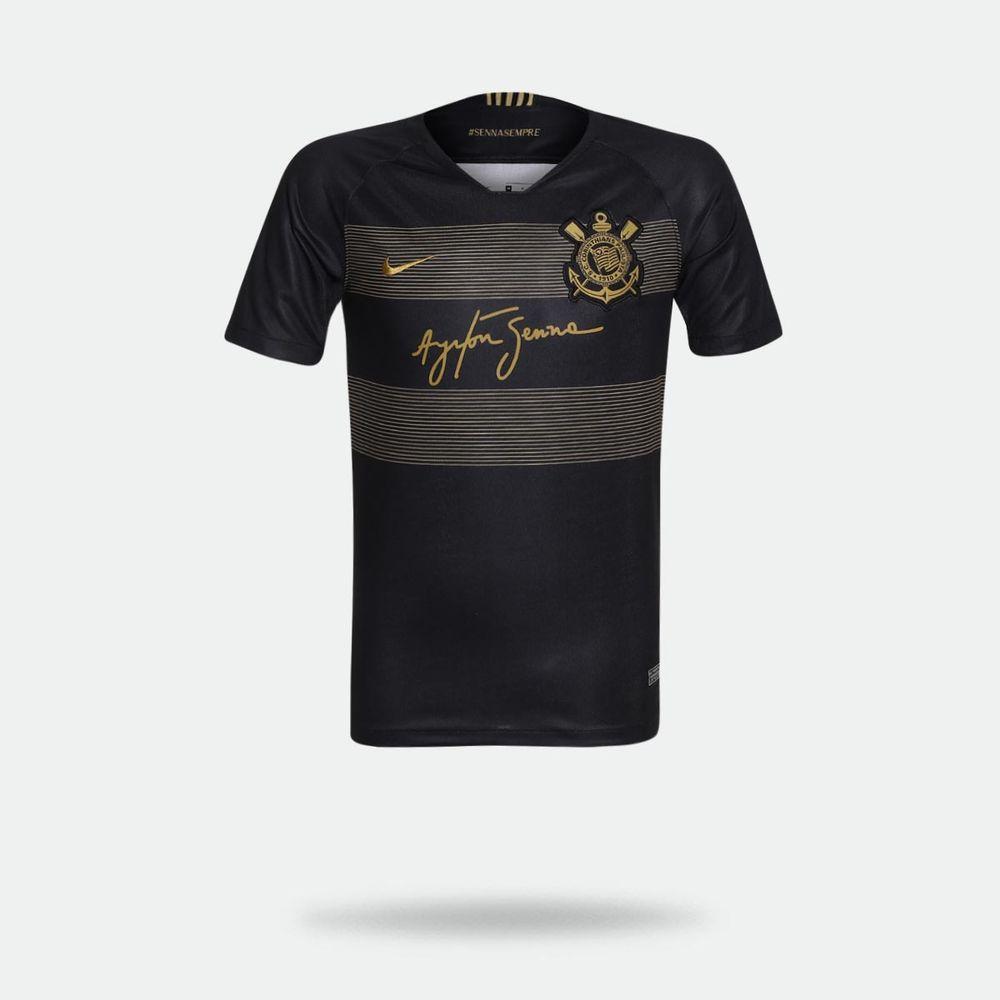 Camisa Nike Corinthians 2018 2019 III Torcedor Preta Infantil Preto ... 9559b39cda30d