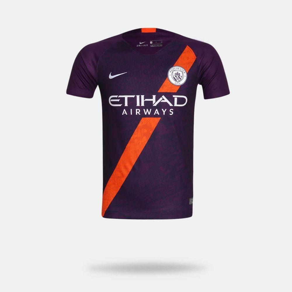 830183bae Camisa Nike Manchester City 2018 2019 III Torcedor Roxa Infantil ...