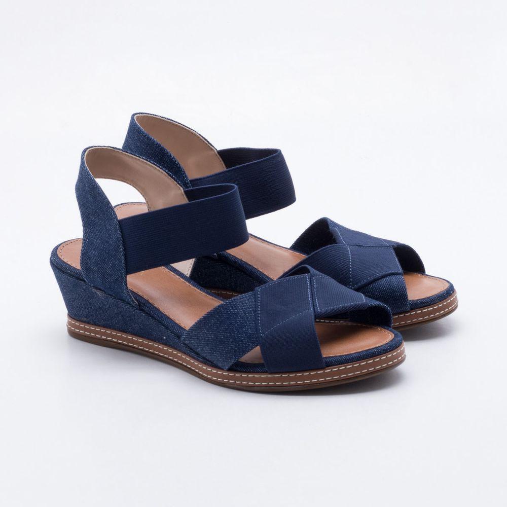 5fb832788 Sandália Anabela Via Scarpa Jeans Azul Azul - Gaston - Paqueta Calçados