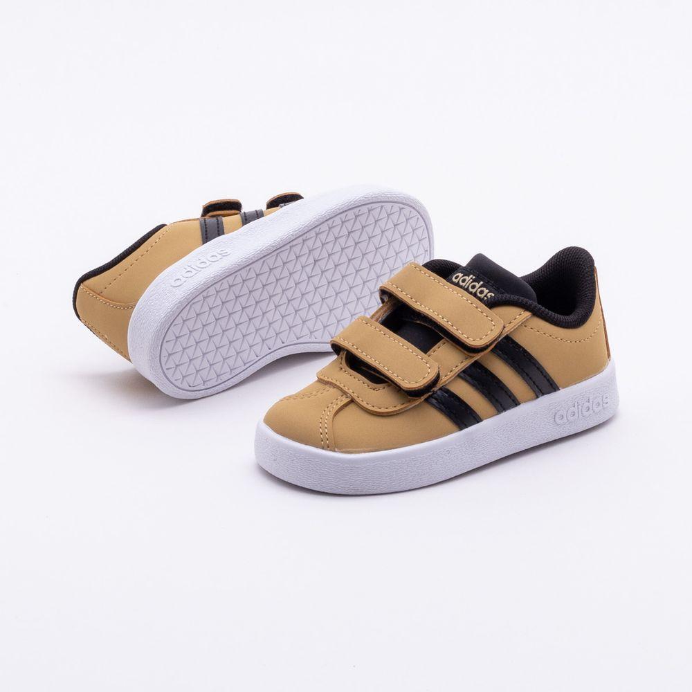 bd2855e087f Tênis Adidas Infantil VL Court 2.0 Bege Bege e Preto - Gaston ...