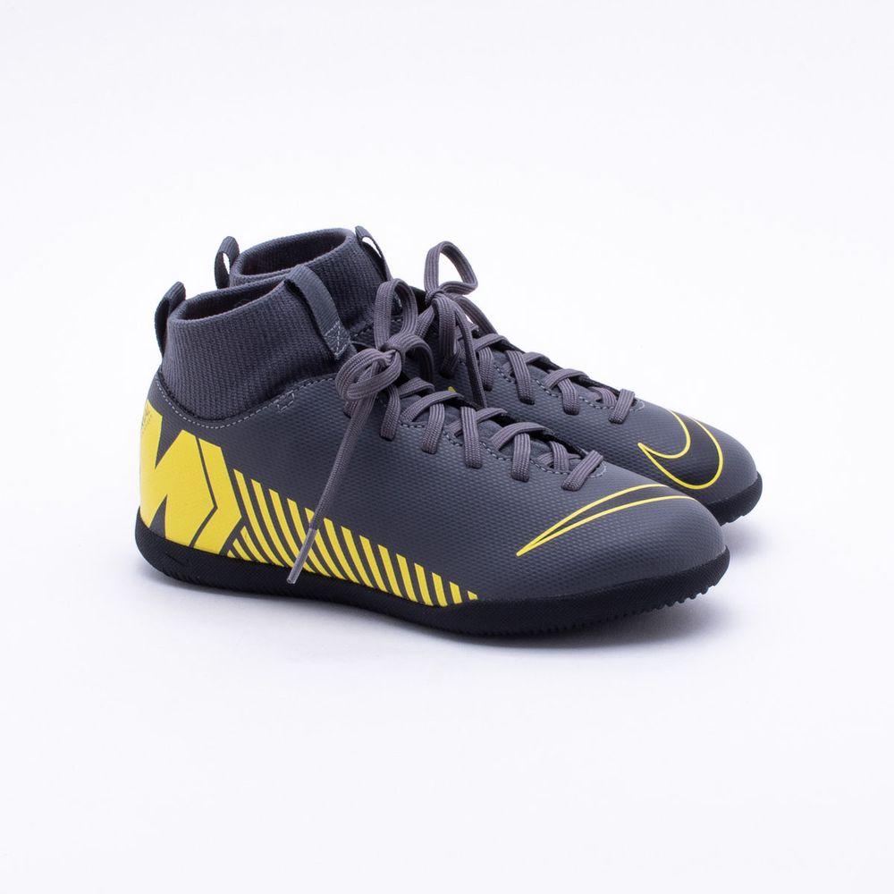 5c89b0fa7 Chuteira Futsal Nike Mercurial JR Superfly 6 CL IC Infantil Cinza e ...