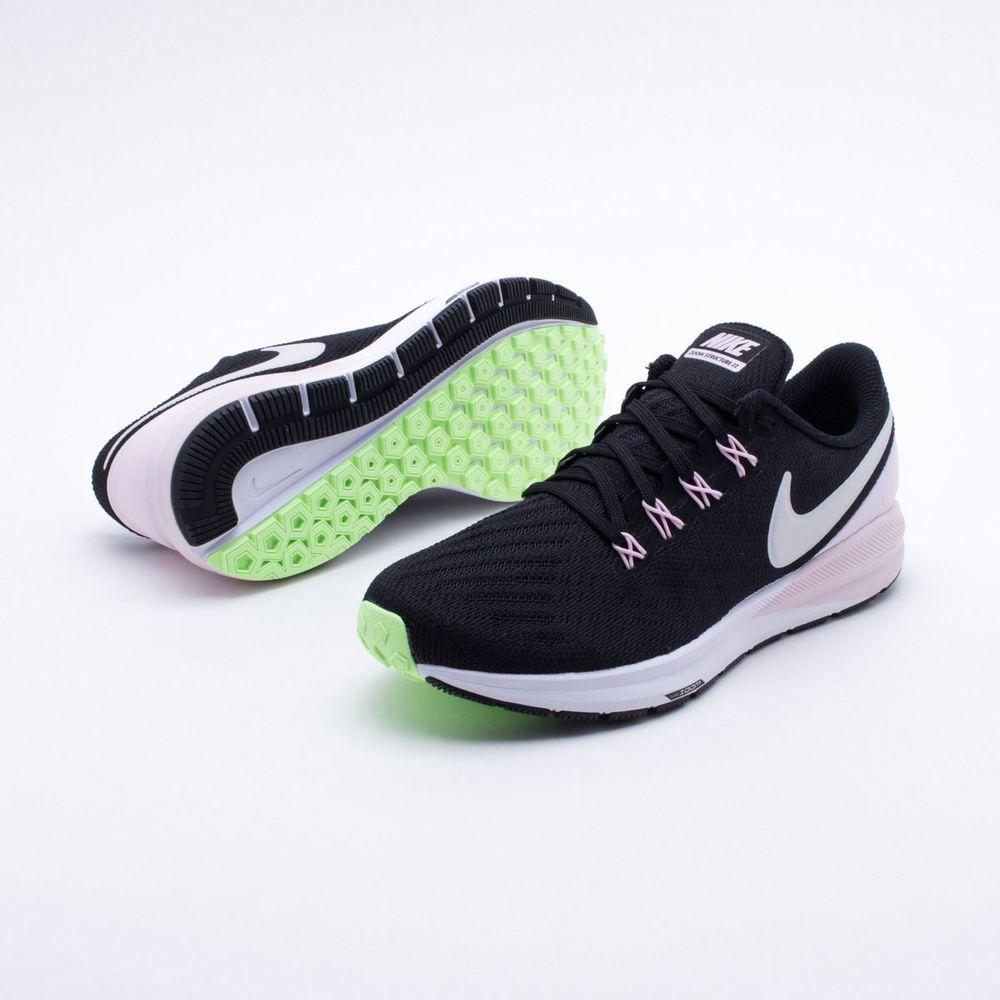 Tênis Nike Air Zoom Structure 22 Feminino Preto e Rosa - Gaston - Paqueta  Esportes e9fe34651ee74