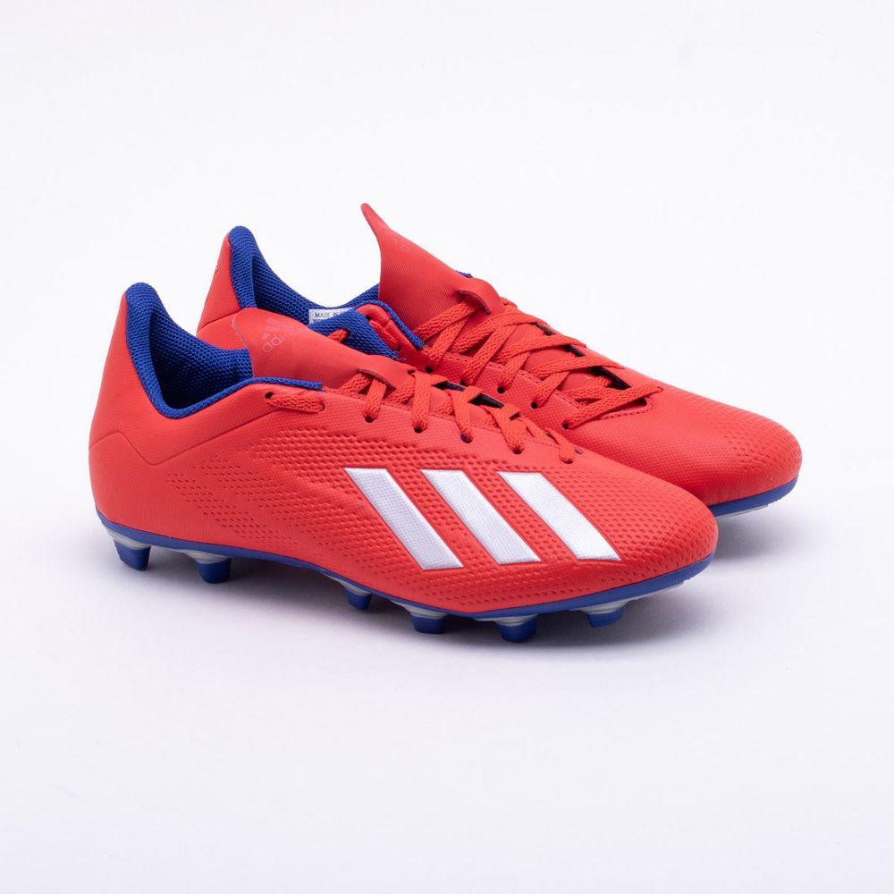 b01699b743ff4 Chuteira Campo Adidas X 18.4 FXG Vermelho e Azul - Gaston - Paqueta ...