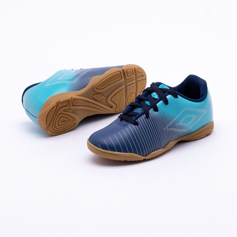 1ecb89eb54 Chuteira Futsal Umbro Vibe Indoor Infantil Azul - Gaston - Paqueta ...