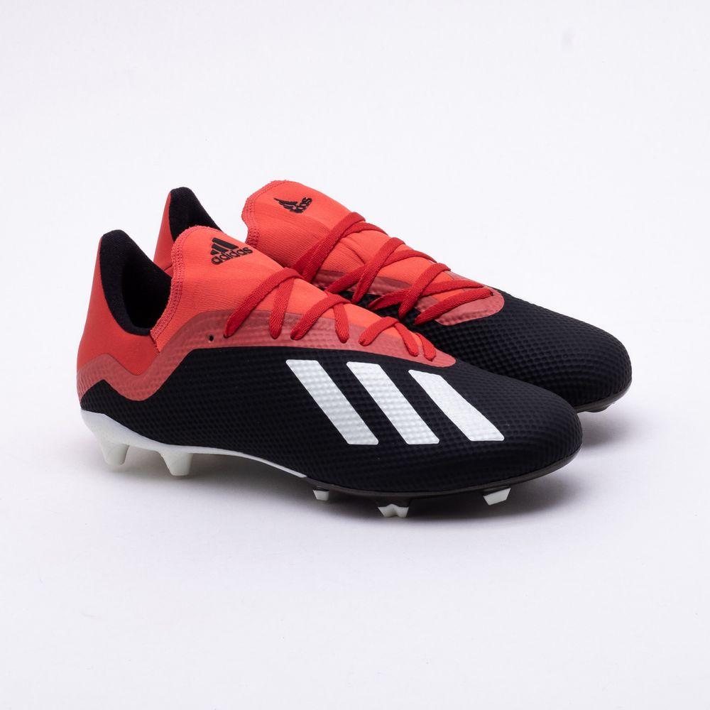 429914a9c9dcf Chuteira Campo Adidas X 18.3 FG Preto e Vermelho - Gaston - Paqueta ...