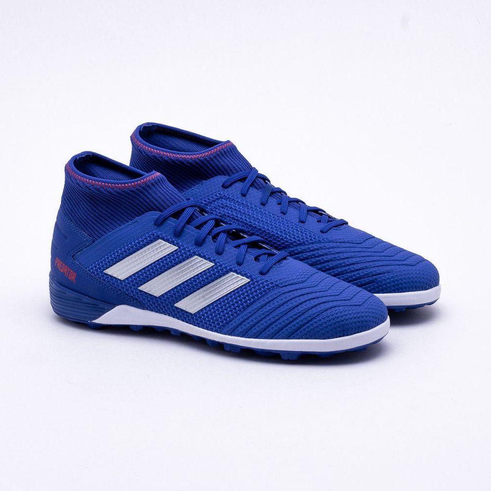 cc7cbd2077 Chuteira Society Adidas Predator Tango 19.3 TF Azul e Branco ...