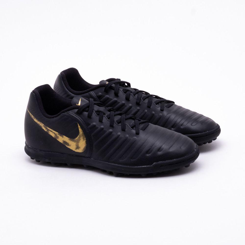 663abbcefe Chuteira Society Nike Tiempo Legend 7 Club TF Preto e Dourado ...