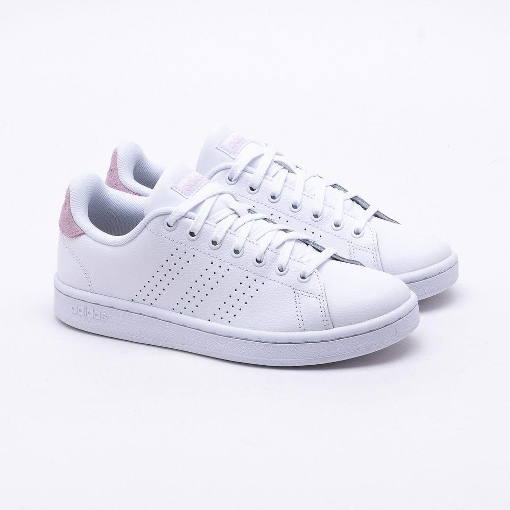 95e748eebce Tênis Adidas Advantage Branco Feminino Branco e Rosa - Gaston ...