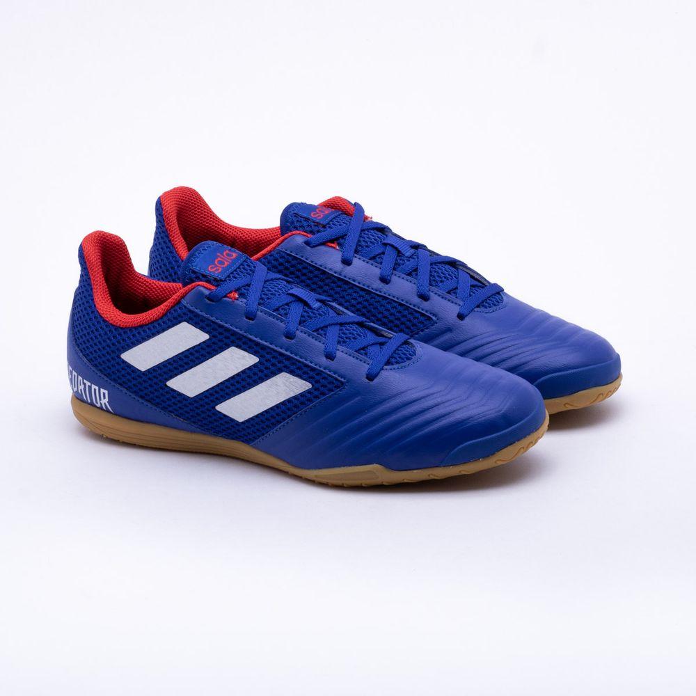 Chuteira Futsal Adidas Predator 19.4 IN Azul e Vermelho - Gaston ... daf6d115c86f2