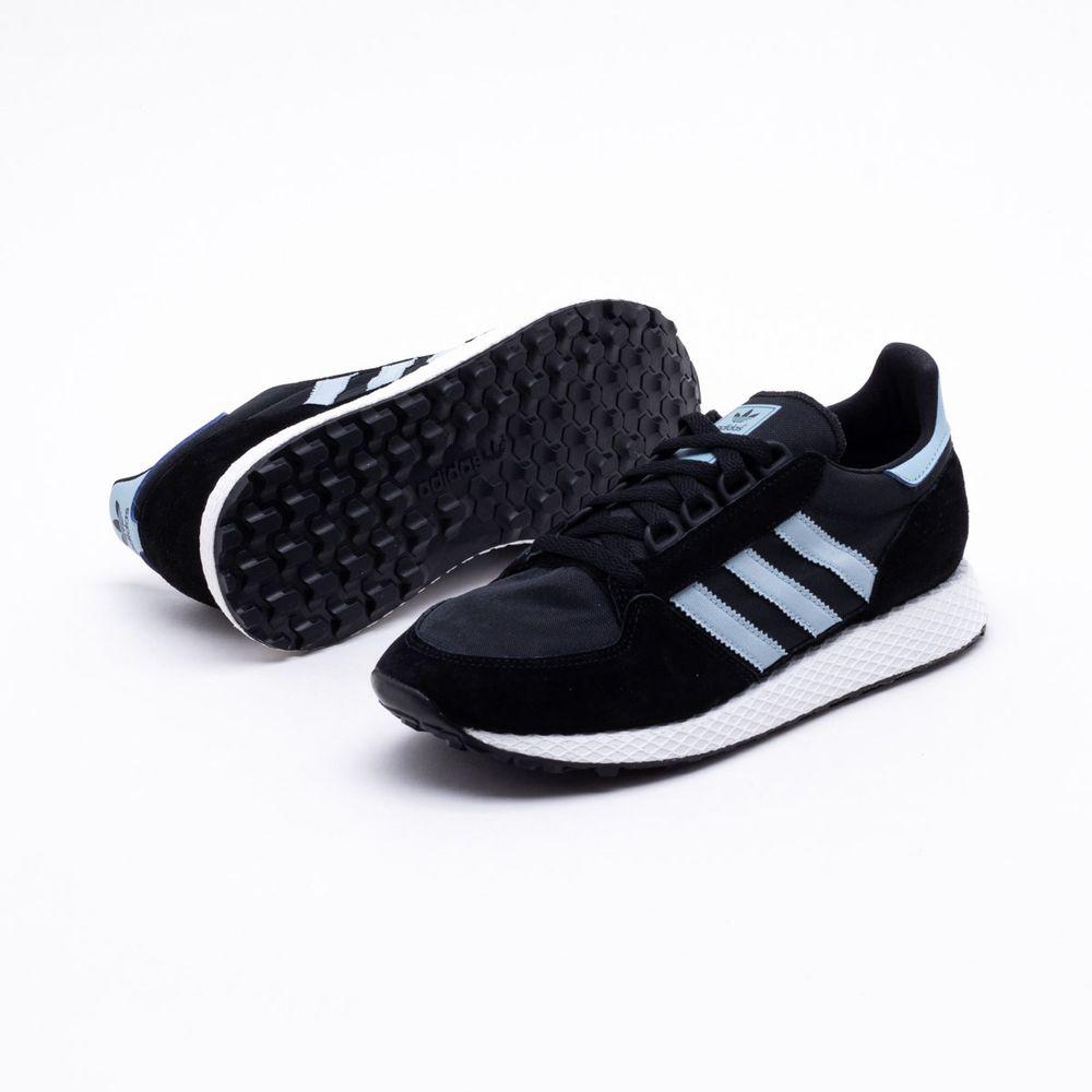 3f9e56c611b2 Tênis Adidas Forest Grove Originals Preto Feminino Preto e Azul ...