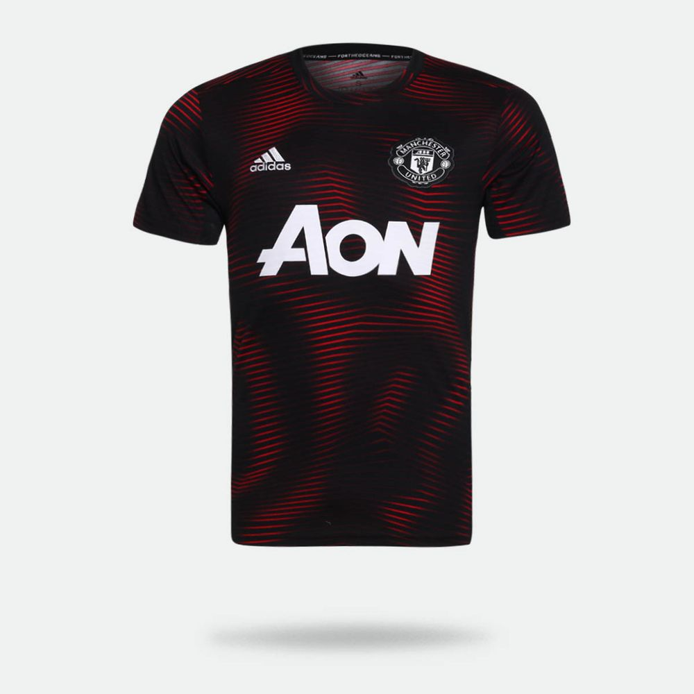 4ee267896c Camisa Adidas Manchester United 2018/2019 Pré Jogo I Preta Masculina ...