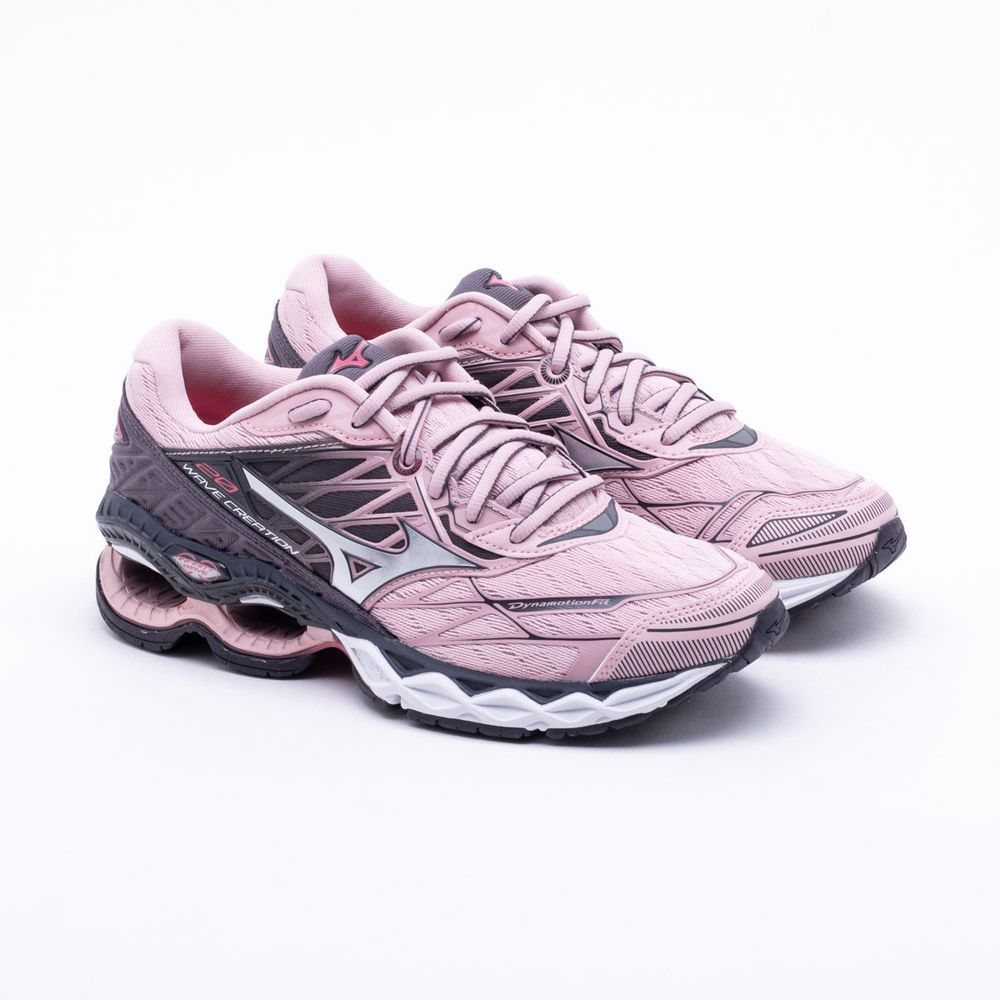 809fc33f8fc Tênis Mizuno Wave Creation 20 Feminino Rosa e Prata - Gaston ...