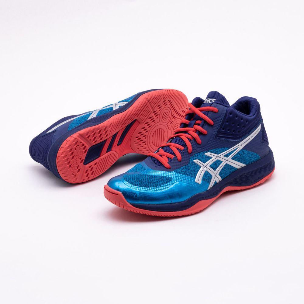 6c905de5c87 Tênis Asics Netburner Ballistic FF MT Masculino Azul e Vermelho ...
