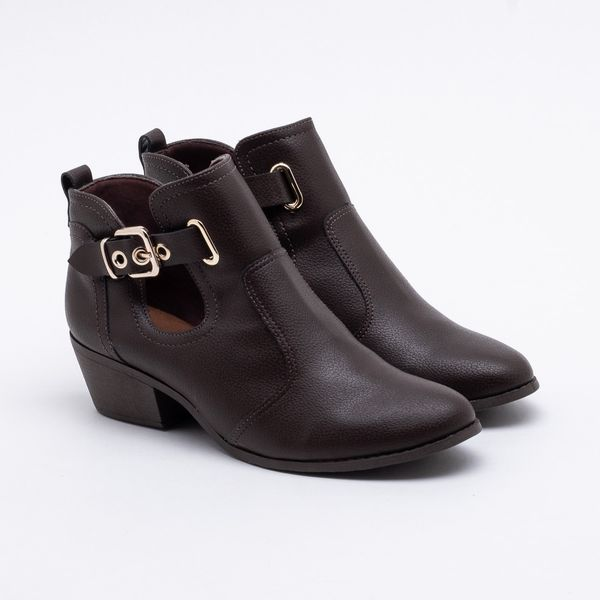 Ankle Boot Bebecê Recortes Marrom