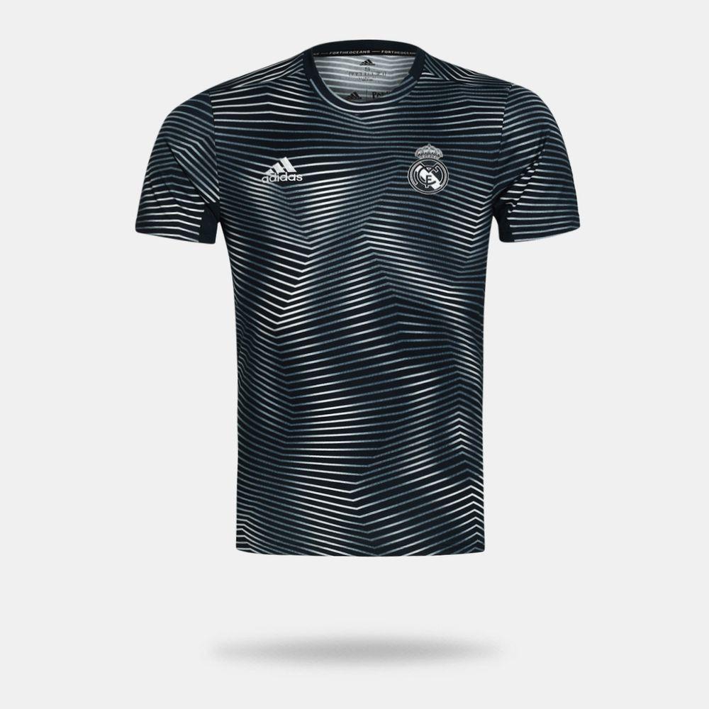 7b6519245a1 Camisa Adidas Real Madrid 2018 2019 Pré-Jogo Preta Masculina Preto ...