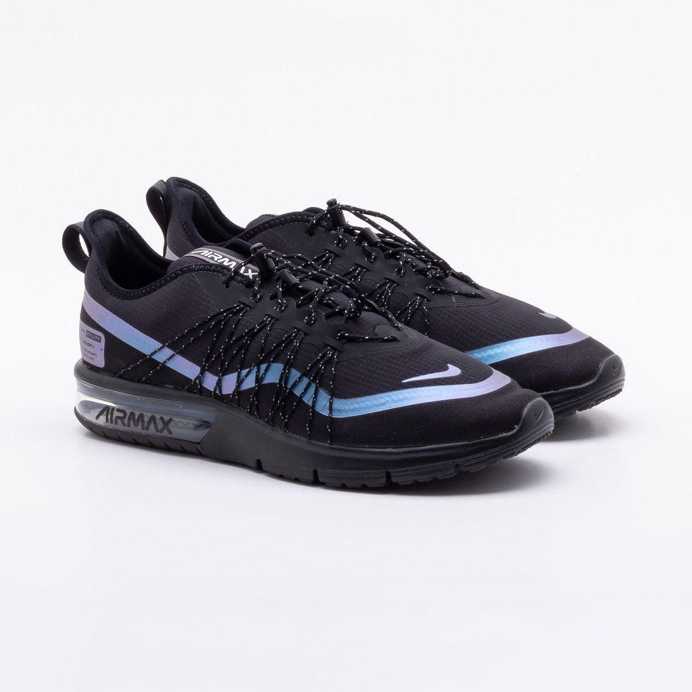 4a881d57c3a Tênis Nike Air Max Sequent 4 UT Masculino Preto e Azul - Gaston ...