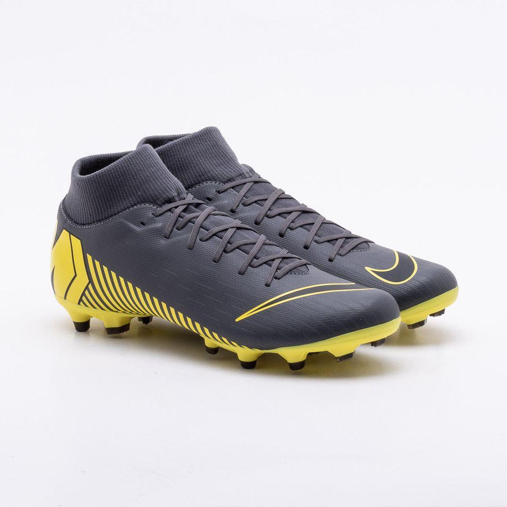 d351260e62111 Chuteira Campo Nike Mercurial Superfly VI Club FG Cinza e Amarelo ...