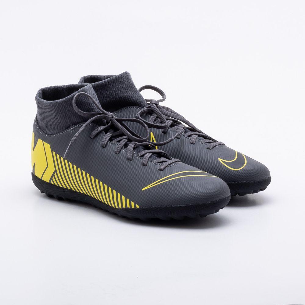 38d7dba9d986e Chuteira Society Nike Mercurial Superfly VI Academy Cinza e Amarelo ...