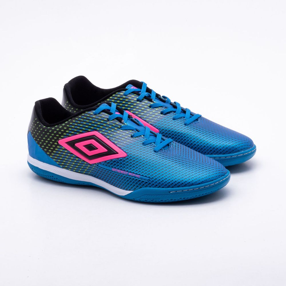 9563450cb98 Chuteira Futsal Umbro Indoor Speed Sonic Azul e Rosa - Gaston ...