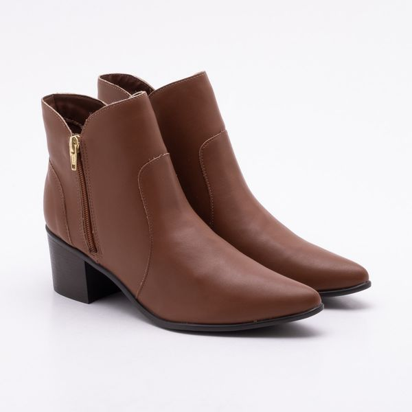 ac3d096a1d9 Ankle Boot Ana Luz Salto Grosso Caramelo