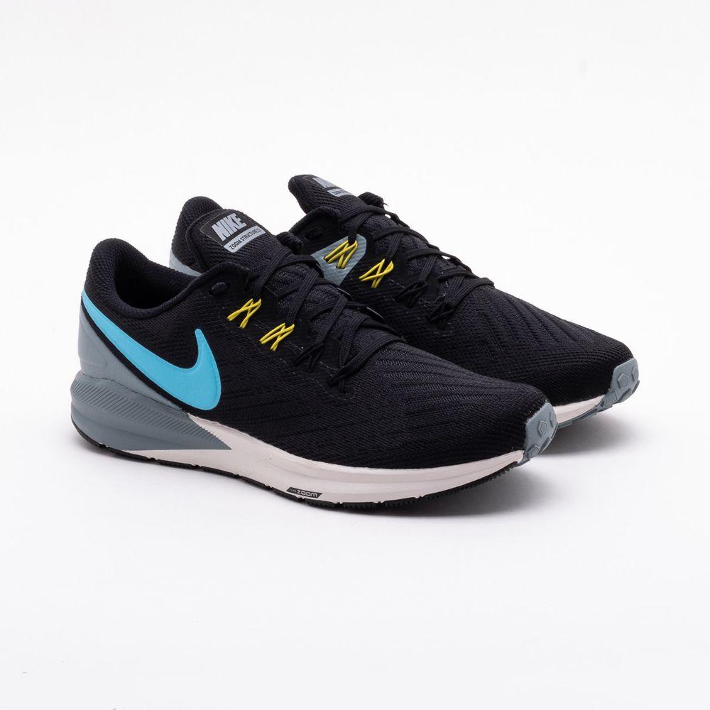 16737b6f3f150a Tênis Nike Air Zoom Structure 22 Preto Masculino Preto e Azul ...