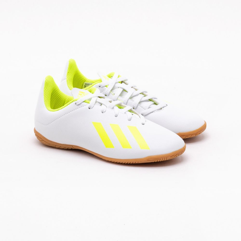 593dbef3ed2fc Chuteira Futsal Adidas Infantil X 18.4 Branca Branco e Verde Limao ...
