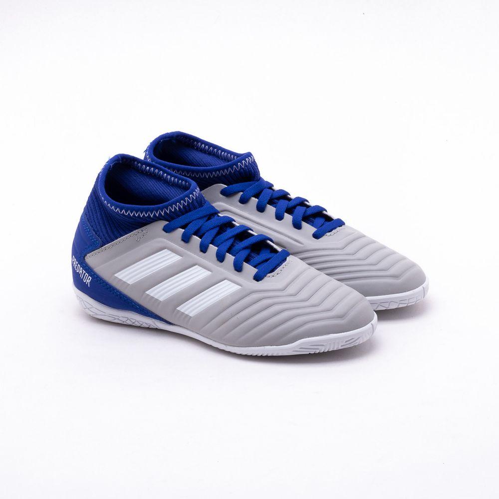 51c32cbaa6 Chuteira Futsal Adidas 19.3 IN JR Cinza Infantil Cinza e Azul - Gaston -  Gaston