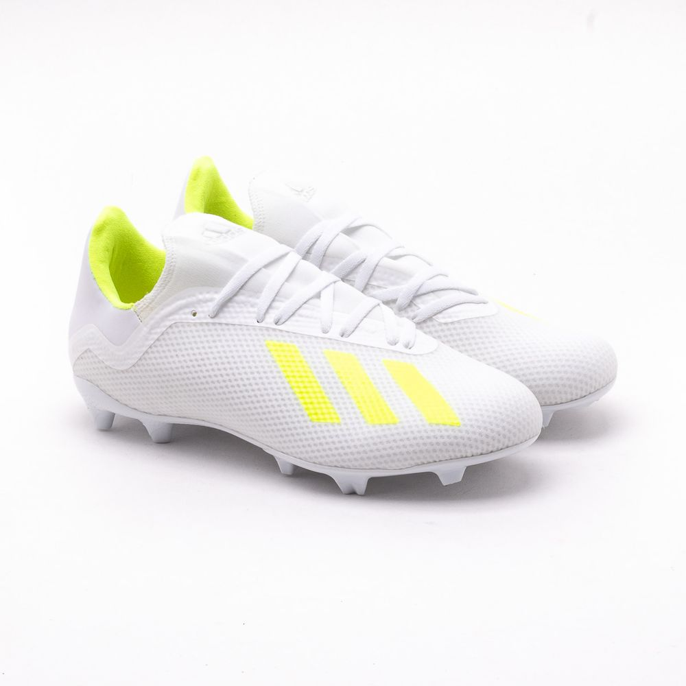74ee807eea Chuteira Campo Adidas X 18.3 Branca Branco e Verde Limao ...