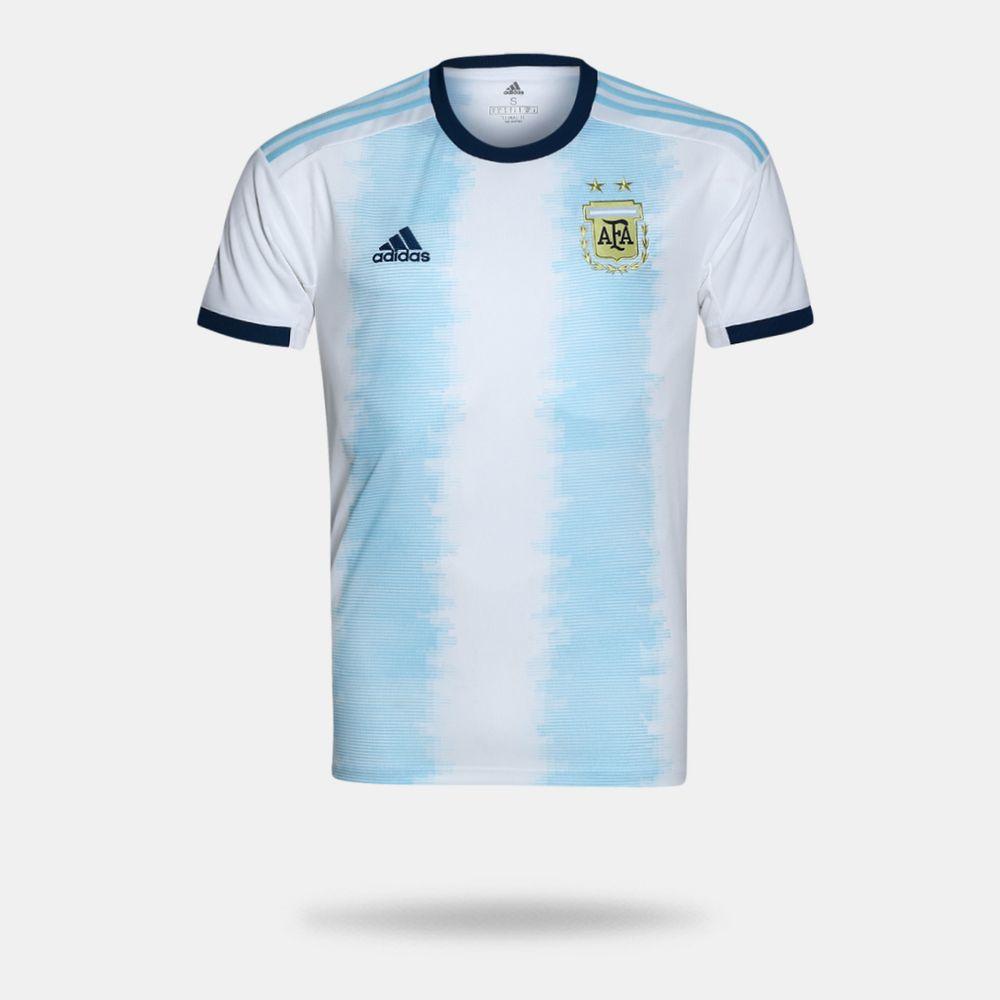 1528ae23fda61 Camisa Adidas Argentina I Torcedor Branca Masculina Branco e Azul ...