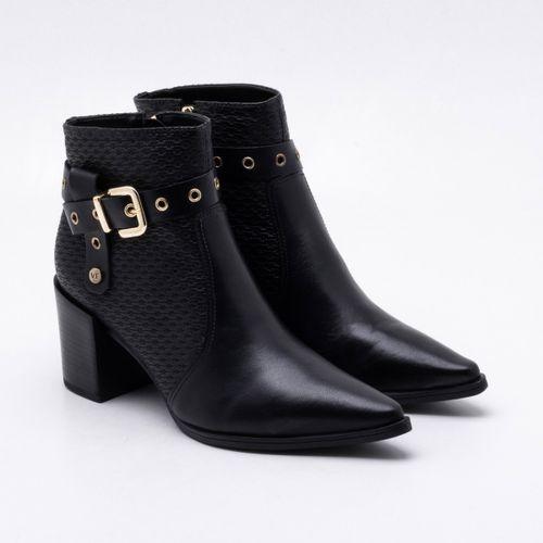 e8be22391b Ankle Boot Verofatto Couro Preta