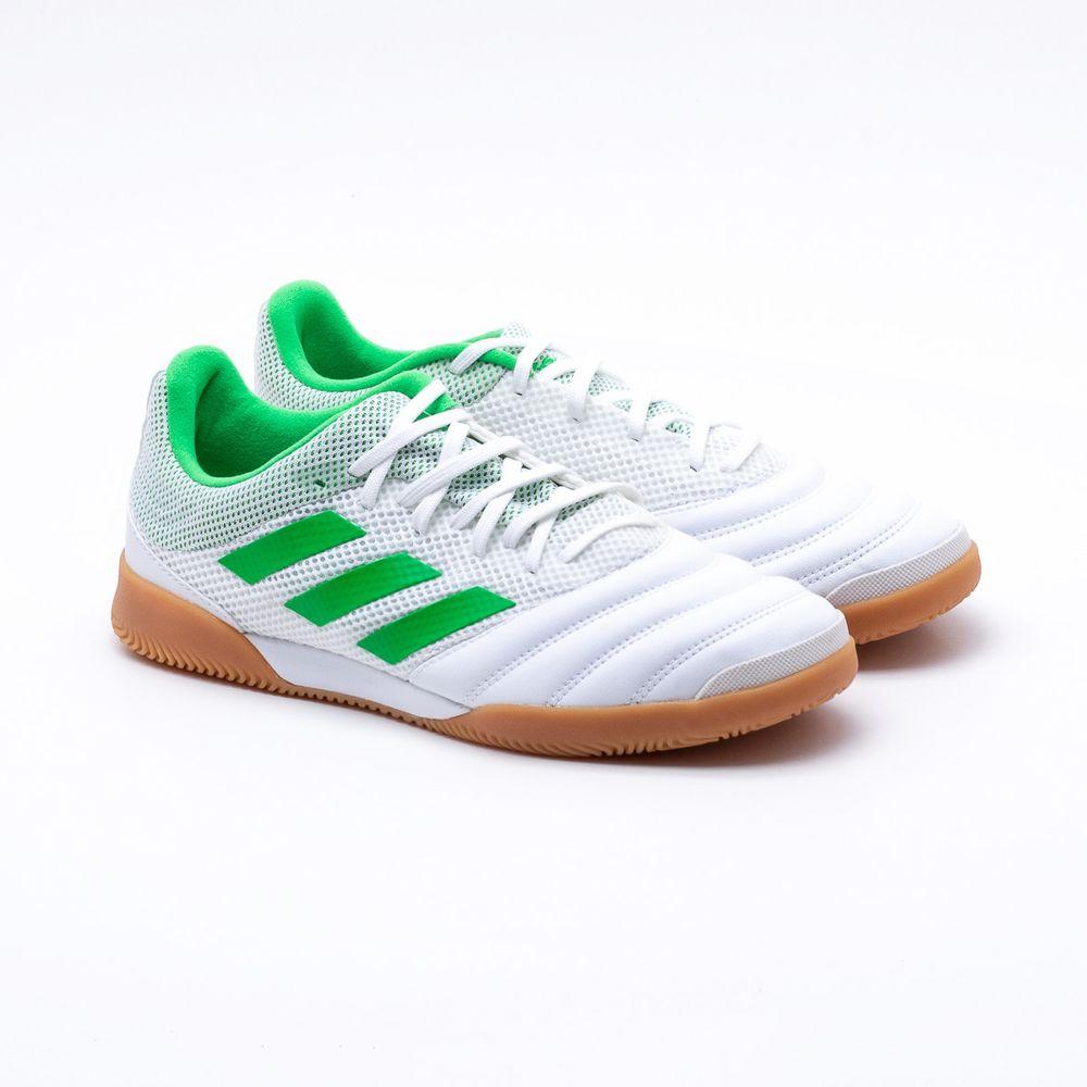 ae24307f6a Chuteira Futsal Adidas Sala Copa 19.3 Branca Branco e Verde - Gaston ...