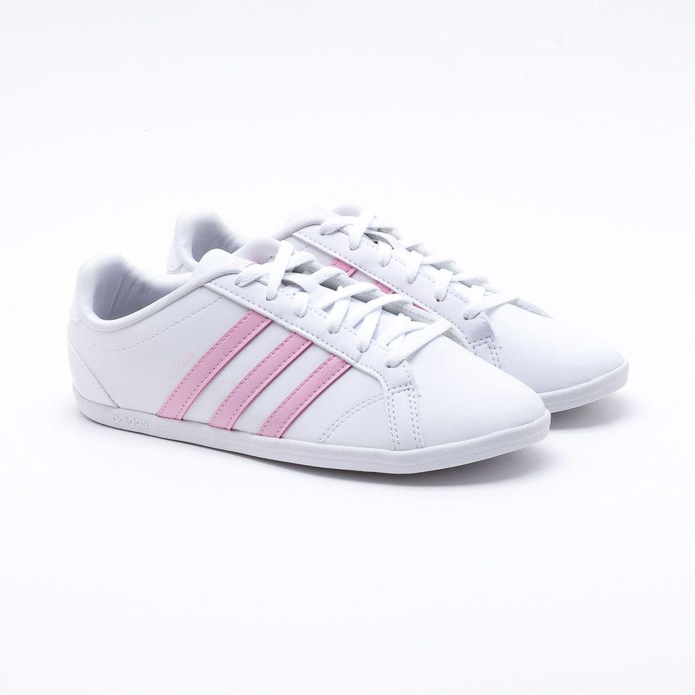 a2f34c7da Tênis Adidas VS Coneo QT Branco Feminino Branco e Rosa - Gaston ...