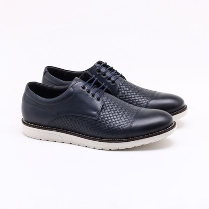 Sapato Social Ferracini Smart Couro Marinho Masculino