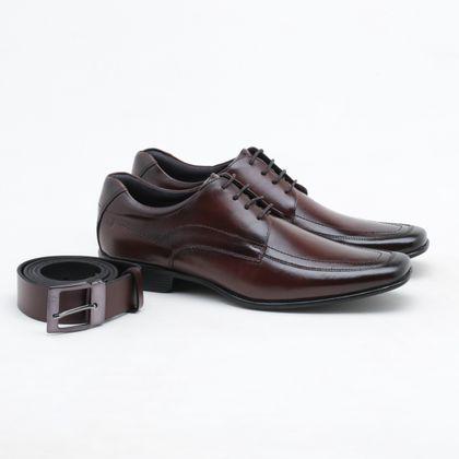 Sapato Social Rafarillo Couro + Cinto Mogno Masculino
