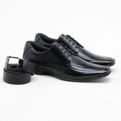 Sapato Social Rafarillo Couro + Cinto Preto Masculino